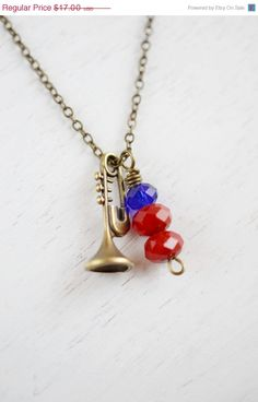 Trombone Necklace Music Instrument Charm NecklaceMusic by KimFong, $12.75