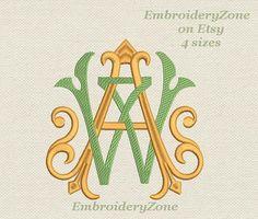 Doppelte antiken Monogramme von alten Büchern A von EmbroideryZone