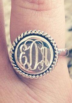 Monogrammed Sterling Silver Ring in Nala