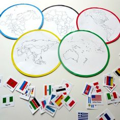 FREE printable of Olympic Rings with continents and Olympic country sort