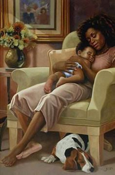 Black Art - Such a relaxed painting.a mother's love Art Black Love, Black Is Beautiful, African American Art, African Art, American Artists, Pics Art, Art Pictures, Fashion Paintings, Art Paintings