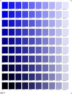 30 pages of RGB codes ready to print for color matching in smooth transitions. Blue Shades Colors, Blue Colour Palette, Colour Schemes, Pantone Colour Palettes, Pantone Color, Rgb Palette, Skin Color Chart, Rgb Color Codes, Pintura Exterior