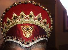 Elizabethan Costume: Custom French Hood with Pointed Base & Jeweled Billiments