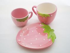 Pink Kawaii Cute Sstrawberry shape Mug Cup & Plate