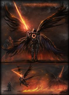 Winged Ringed Knight by vempirick