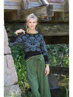 Osroso Genser i Svart og Blågrønn, kjøp den som strikkepakke hos HoY. Elke Bräunling, Knit Crochet, Harem Pants, Knitting, My Style, Pattern, Inspiration, Design, Scandinavian
