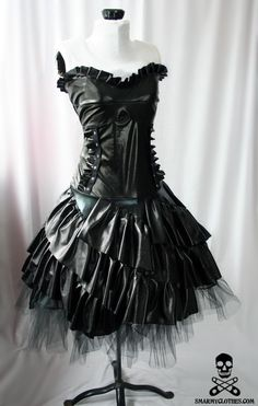 Black ruffle gothic dress by smarmyclothes on Etsy.