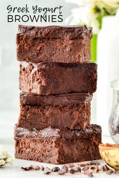 Healthy Greek Yogurt Brownies with Chocolate Ganache are so fudgy and delicious that no one ever suspects they re healthy Gluten-free grain-free Greek Yogurt Brownies, Greek Yogurt Dessert, Greek Yogurt Recipes, Greek Yogurt Cheesecake, Chocolate Greek Yogurt, Greek Yogurt Muffins, Healthy Dessert Recipes, Healthy Baking, Healthy Desserts