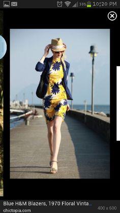 Floral vintage dress with blazer Blue Dress Outfits af6ee93ed7