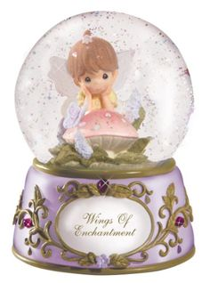 PRECIOUS MOMENTS Snow Globes | other picture precious moments fairy with butterfly musical tune ...