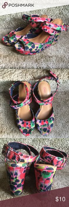 GAP ankle wrap wedges Pre-owned GAP ankle wrap wedges in flower print. Comes from smoke free home. GAP Shoes Wedges