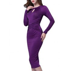 Ruched Keyhole Bodycon Below The Knee Dress Business Professional Dress, Professional Dresses, Casual Dresses For Women, Dresses For Work, Classy Dress, Party Dress, Bodycon Dress, Clothes, Clear Winter