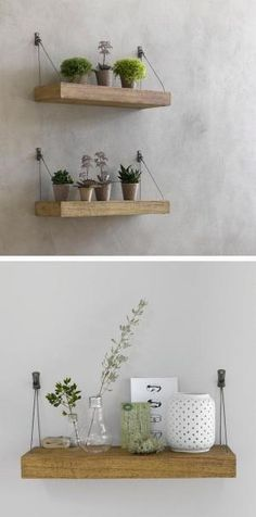 Hanging shelves are another thing that I love and there are so many different ways to apply this to a room. This is one example. by milagros