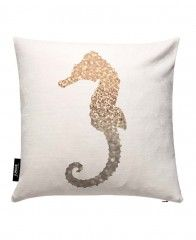 Glitter - Gold Seahorse-JUNIQE Pillows