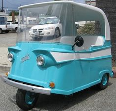 """mid-century Taylor Dunn Trident ( 1960 ) - I love the """"face"""" on it. Serious car is serious. Microcar, Automobile, Weird Cars, Pedal Cars, Unique Cars, Cute Cars, Small Cars, Car Humor, Cars And Motorcycles"""