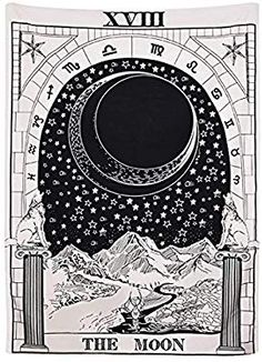 78f6479f2 The Moon Tarot Card Tapestry Astrology Mystic Goth Occult Wicca Witch Home  Décor