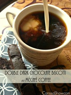 Double Dark Chocolate Biscotti and McCafe Coffee
