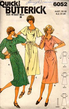 Butterick 6052 Womens EASY Stretch Raglan Sleeved Dress 80s