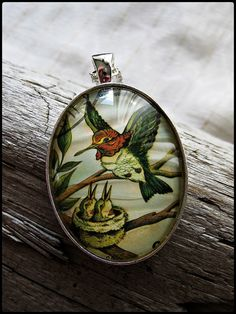 Jewelry Made From Postage Stamps   Postage Stamp Pendant Hummingbirds by OhThePost on Etsy, $30.00