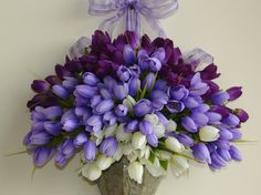 spring summer fall wreath tulips arrangements front door decorations wall decor wedding flowers purple lavender white silk tulips wreaths