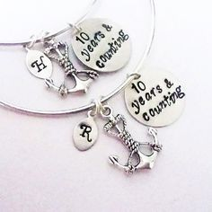 Best friend bracelet set, Personalized Anchor Bracelet, Custom Initial Bangle, 10 years and counting Friendship Jewelry Gift for Best Friend by RobertaValle on Etsy