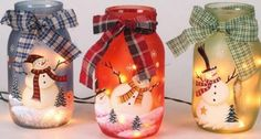 mason jar snowmen: i wonder if i could make a mason jar nativity scene. hmmm this might be awesome.