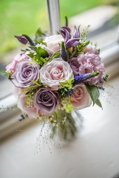 Pink Purple Bouquet Flowers Bride Bridal Roses Rustic Country Farm Peak District Wedding http://www.pixiesinthecellar.co.uk/