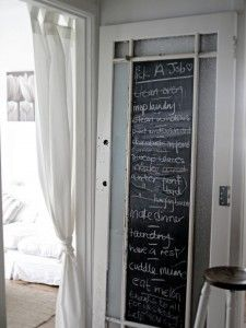 Old door turned chalkboard.. Love it.