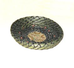 Pine Needles Braceles   Coiled Pine Needle Basket Green Bronze Ceramic Copper Beads