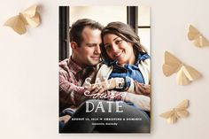 Save the Date 9 - Picture (flat or folded card, custom font colors, silhouette shapes, and papers)