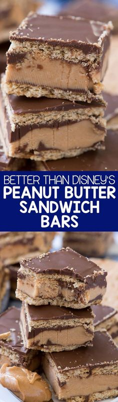 Disneyland Peanut Butter Sandwich Bars - this no bake bar cookie is better than the Disneyland Peanut Butter Sandwich. Graham crackers sandwiched with a thick peanut butter layer and lots of chocolate! #dessertfoodrecipes