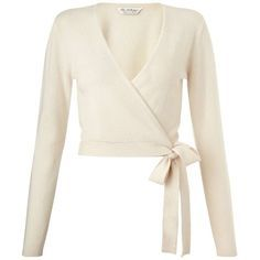 Cream Cashmere Wrap Cardi - Knitwear - Clothing - Miss Selfridge (£25) ❤ liked on Polyvore featuring tops, cardigans, sweaters, long sleeves, outerwear, white long sleeve top, cashmere wrap cardigan, wrap cardigan, long sleeve wrap cardigan and white tops