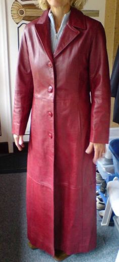 Long Leather Coat, Leather Trench Coat, Red Leather, Shirt Dress, Jackets, Shirts, Dresses, Women, Fashion