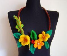 felt lizard and flowers fiber art necklace statement by evalinen, $33.00