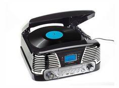 Lauson - Tocadiscos para equipo de audio(AM/FM radio, entrada USB, función para grabación), Negro Usb, Pick Up, Retro Vintage, Audio, Antique Record Player, Musica