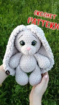 Crochet Bunny Pattern, Crochet Animal Patterns, Stuffed Animal Patterns, Crochet Patterns Amigurumi, Plush Pattern, Crochet Animals, Crochet Stuffed Animals, Yarn Animals, Bear Patterns