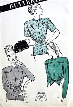 1940s UNIQUE Jacket Pattern BUTTERICK  3775 Three Fab Styles Waist or Peplum Length Bust 32 Vintage Sewing Pattern