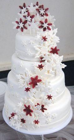 burgandy winter wedding cake | Snowflake Cascade Wedding cake