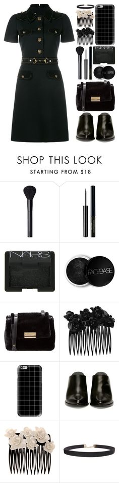"""""""ALL BLACK"""" by itsybitsy62 ❤ liked on Polyvore featuring NARS Cosmetics, FaceBase, Salvatore Ferragamo, L. Erickson, Casetify, Humble Chic and Gucci"""