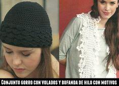 Patrones Crochet: Conjunto bufanda de hilo y gorro con volados