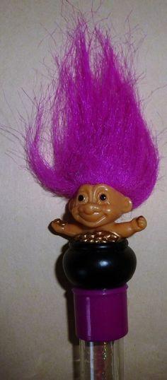 "box w//troll legend on back purple hair 1.5/"" Good Luck Pocket Troll TROLL DOLL"
