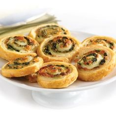 Spinach Cheese Swirls (1 puff pastry, very little cheese, some other topping, and viola)