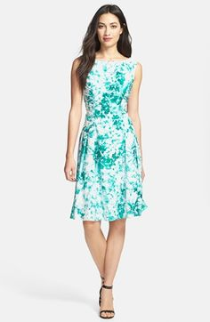 Adrianna Papell Beaded Neck Floral Print Fit & Flare Dress