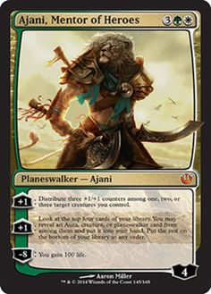 Ajani, Mentor of Heroes mtg Magic the Gathering Journey into Nyx green white mythic rare planeswalker card Mtg Planeswalkers, Magic The Gathering Karten, Mtg Decks, Beast Creature, Mtg Art, Hero's Journey, Wizards Of The Coast, Deck Of Cards, Card Games