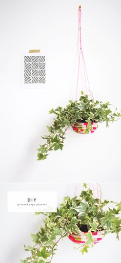 DIY Painted Rope Planter - would be a perfect rainy day project. Diy Craft Projects, Fun Crafts, Craft Ideas, Decorating Ideas, Navidad Diy, Diy Hanging, Hanging Basket, Hanging Rope, Idee Diy