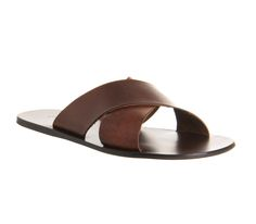 Poste Marcus Cross Over Sandal Brown Leather - Sandals