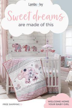 Baby Furniture Diy Nursery Cribs Beds Ideas For 2019 Elephant Crib Bedding Set, Baby Crib Bedding Sets, Nursery Crib, Elephant Nursery, Baby Bedroom, Baby Cribs, Girl Nursery, Girl Room, Crib Sheets