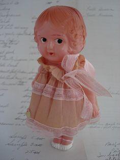 Vintage Celluloid Doll Flapper / Kewpie in Pink Crepe Paper Dress
