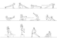Fitness girls in shorts, in gym leggings. Girls with fitness balls and pilates balls, girls with dumbbells. Cad Drawing, Line Drawing, Walking Stairs, Pilates, Human Body Diagram, Fit Board Workouts, Workout Board, Sectional Perspective, Autocad Civil