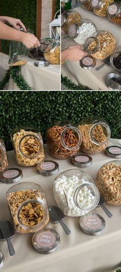 You HAVE To See This DIY Wedding Trail Mix Bar! is part of Wedding snacks - This is the cutest bar idea we have seen in a long time! Using our free printables, quickly and easily create this DIY Trail Mix Bar for your next event! Wedding Favors And Gifts, Wedding Snacks, Wedding Food Stations, Diy Wedding Decorations, Party Wedding, Easy Diy Wedding Food, Wedding Table, Fall Wedding, Diy Wedding Bar